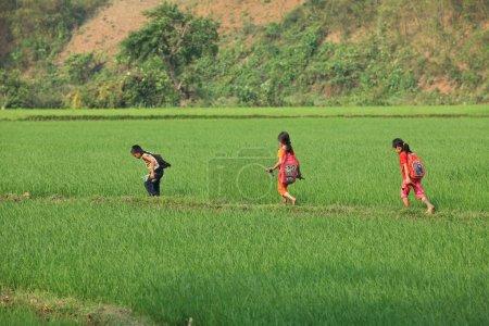 boy and girls walking through field