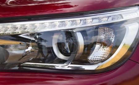 Close up of the headlight of a car