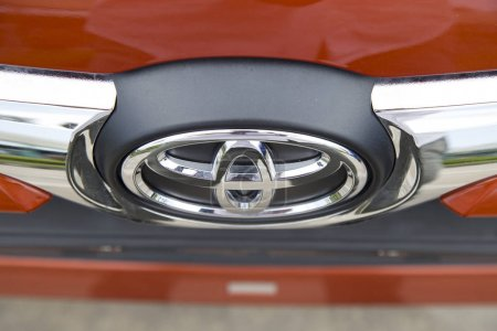 Hanoi, Vietnam - Sep 1, 2017: Close up of the logo of Toyota on the car front, taken within a test drive. Toyota Motor is a Japanese automotive manufacturer headquartered in Toyota, Aichi, Japan.