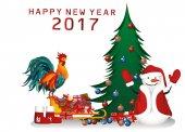 Vánoce a nový rok karty. Sněhulák s dárky