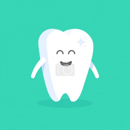 Cute cartoon tooth character with