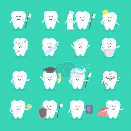 Cute cartoon tooth character set