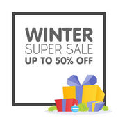 Winter sale poster design template or Background Creative business promotional vector
