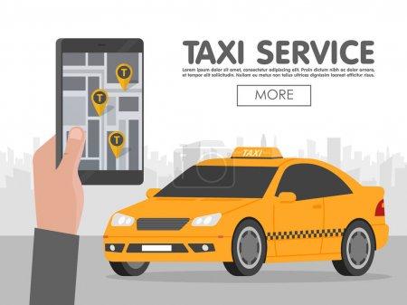 Illustration pour Téléphone avec interface taxi à l'écran en arrière-plan de la ville. Application mobile pour le service de réservation. Illustration vectorielle plate pour entreprises, infographie, bannière, présentations . - image libre de droit
