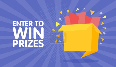 Illustration for Enter to win prizes gift box. Cartoon origami style vector illustration. - Royalty Free Image