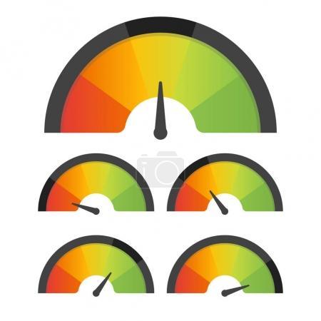 Illustration for Customer satisfaction meter speedometer set. Vector illustration. - Royalty Free Image