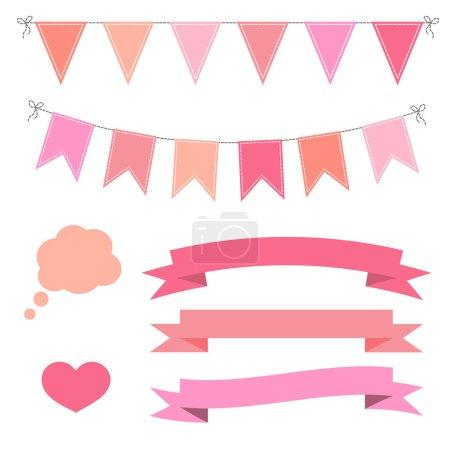 Ilustración de Conjunto de rosa Escribano plano guirnaldas, banderas, cintas, burbuja de corazón y habla. Decoración de fiesta, día de San Valentín. - Imagen libre de derechos