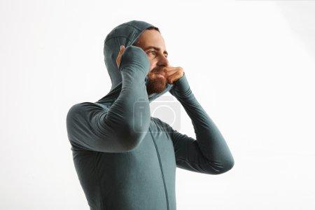 Bearded athlete fits hoodie