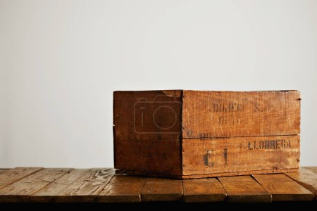 Beautiful old wine crate isolated on white