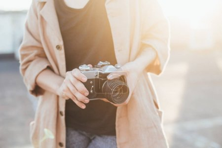 hipster woman with camera