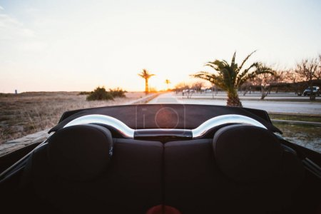 Backseat view from back of convertible cabriolet car at sunset with palm trees and beach