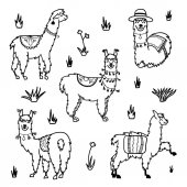 Vector set of characters Illustration of south Americas cute lama with decorations Isolated outline cartoon baby llama Hand drawn Peru animal  guanaco alpaca vicuna Drawing for print fabric