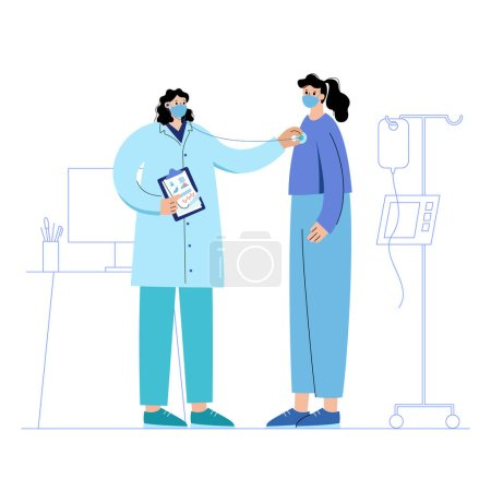 Photo for Consultation with a practitioner with mask in clinic. Health check with stethoscope. Doctor is ready to help coronavirus patient. Flat vector illustration. Adult female cartoon characters - Royalty Free Image