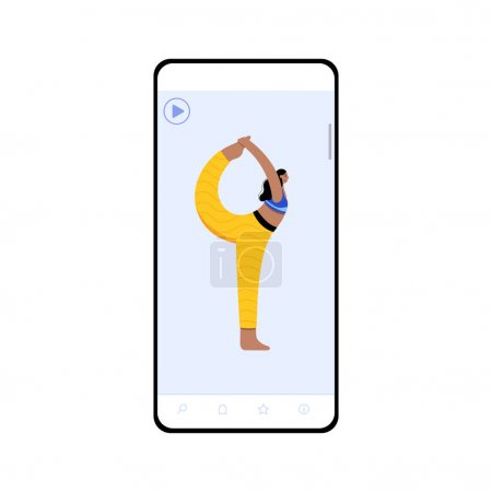 Photo for Online application for yoga video exercises.An example of one of the lessons on the smartphone screen. Flat colorful vector illustration for internet template. - Royalty Free Image