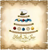 New Year tree in a marine style on a magic parchment background