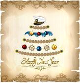Neujahrsfeier im marine-Stil auf eine magische Pergament-Hintergrund