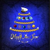 New Year tree in a marine style on a magic dark blue background