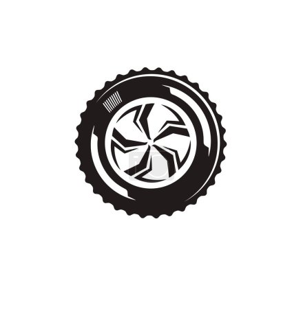 The silhouette of the wheel. The borders for driving and auto business.