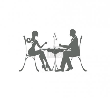the icon of cute couple of man and woman sitting in a cafe. pleasant meeting and love atmosphere. beautiful slim woman is in the date with young businessman Pair is taking coffee