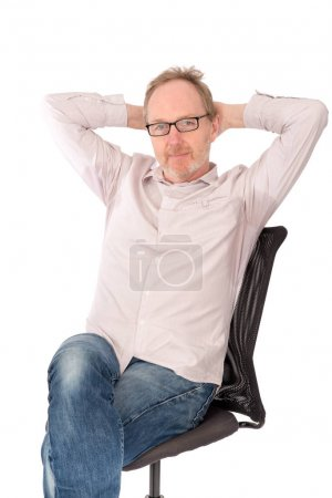 Man Wearing Shirt with Patch of Sweat on Armpits