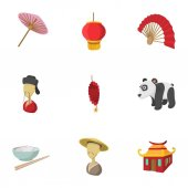 China Republic icons set Cartoon illustration of 9 China Republic vector icons for web