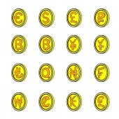 Currency icons set cartoon