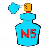 Bottle of Chanel No5 perfume icon cartoon