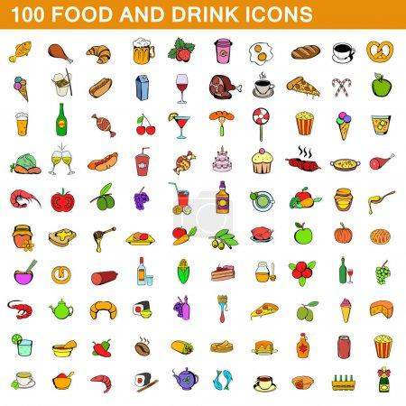 Photo pour 100 icônes de nourriture et de boisson dans le style de dessin animé pour toute illustration vectorielle de conception - image libre de droit