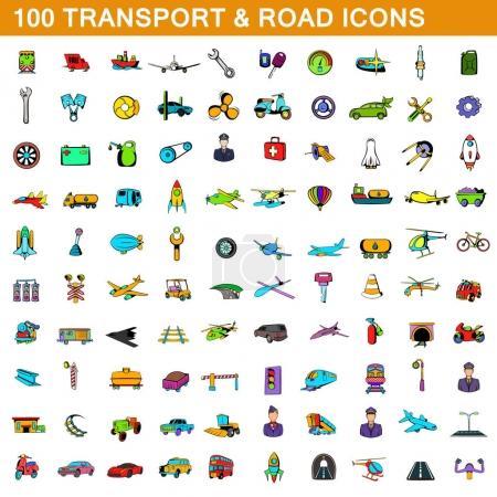Illustration pour 100 icônes de transport dans le style de dessin animé pour toute illustration vectorielle de conception - image libre de droit