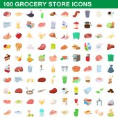 100 grocery store icons set cartoon style