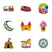 Lunapark ikony set, kreslený styl