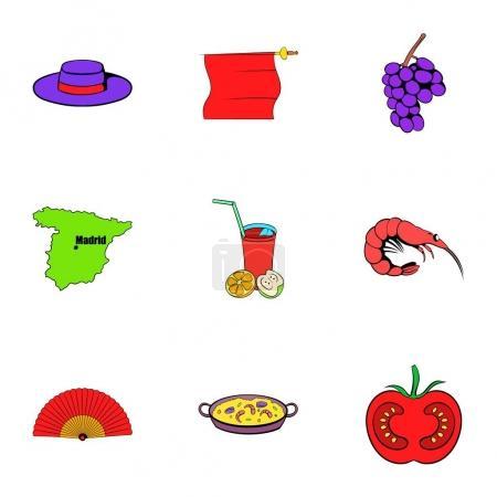 Spain icons set, cartoon style