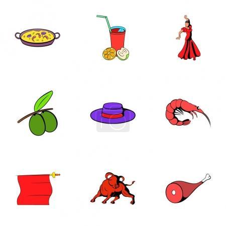 Spain travel icons set, cartoon style