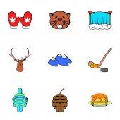 Canadian maple icons set cartoon style