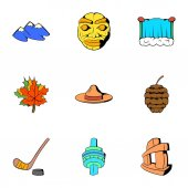 Canadian culture icons set cartoon style