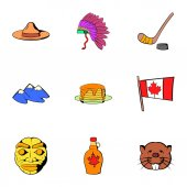 Canadian travel icons set cartoon style