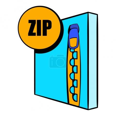 Illustration for ZIP file icon in cartoon style isolated vector illustration - Royalty Free Image
