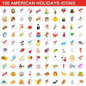 100 American holidays cons set isometric 3d style