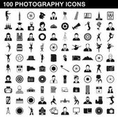 100 photography icons set simple style