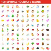 100 spring holidays cons set isometric 3d style