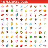 100 holidays icons set isometric 3d style