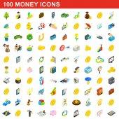 100 money icons set isometric 3d style