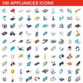 100 appliances icons set isometric 3d style