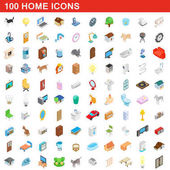 100 home icons set isometric 3d style