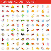 100 restaurant icons set isometric 3d style
