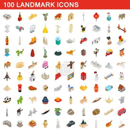 100 landmark icons set, isometric 3d style