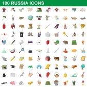 100 russia icons set cartoon style