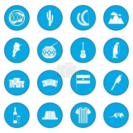Illustration for Argentina set icon blue isolated vector illustration - Royalty Free Image