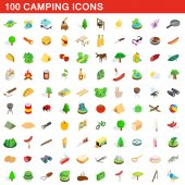 100 camping icons set isometric 3d style