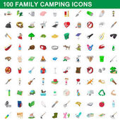 100 family camping icons set cartoon style